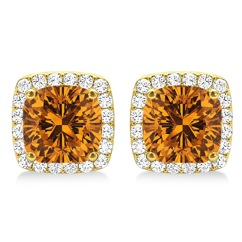 Cushion Cut Citrine & Diamond Halo Earrings 14k Yellow Gold (1.50ct)