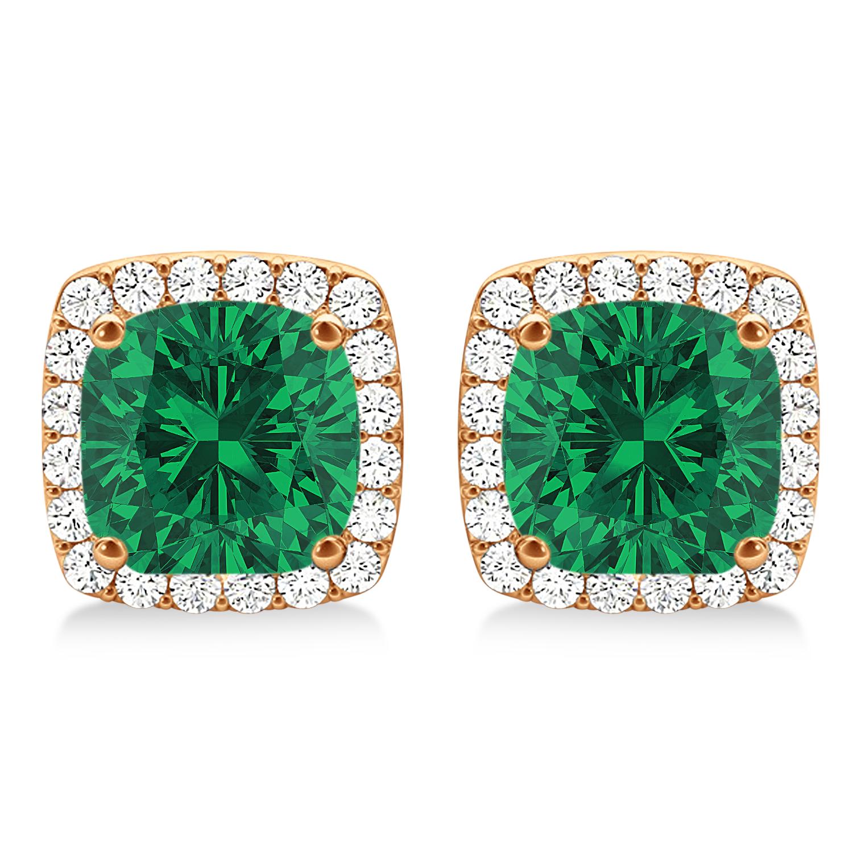 Cushion Cut Emerald & Diamond Halo Earrings 14k Rose Gold (1.50ct)