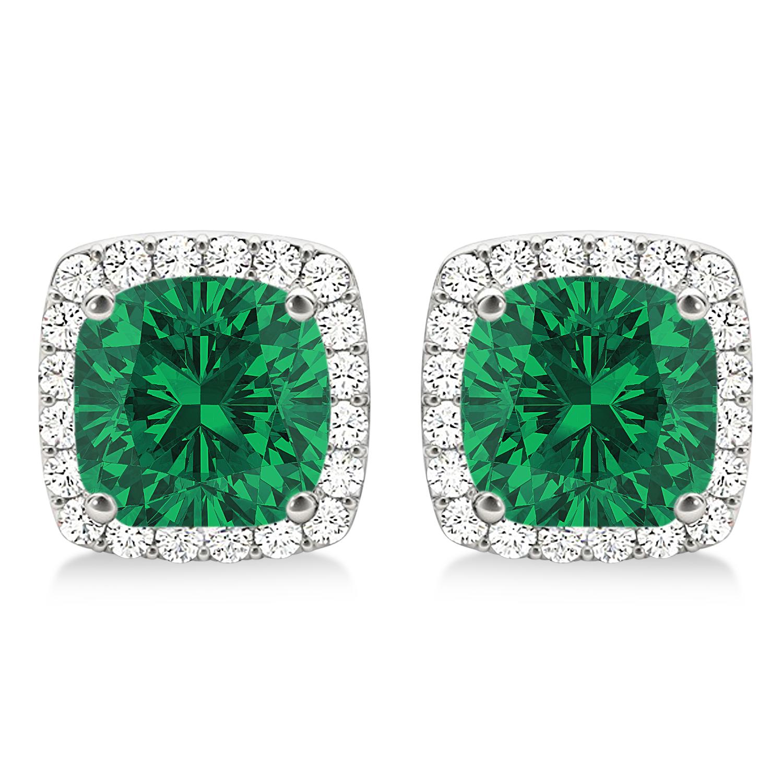 Cushion Cut Emerald & Diamond Halo Earrings 14k White Gold (1.50ct)