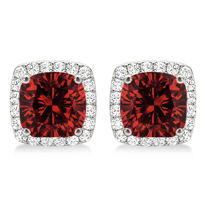 Cushion Cut Garnet & Diamond Halo Earrings 14k White Gold (1.50ct)