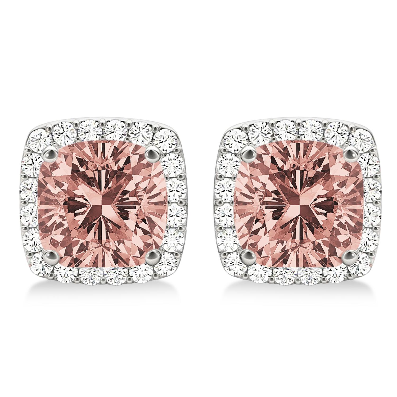 Cushion Cut Morganite & Diamond Halo Earrings 14k White Gold (1.50ct)