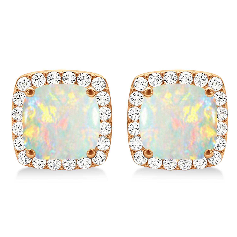 Cushion Cut Opal & Diamond Halo Earrings 14k Rose Gold (1.30ct)