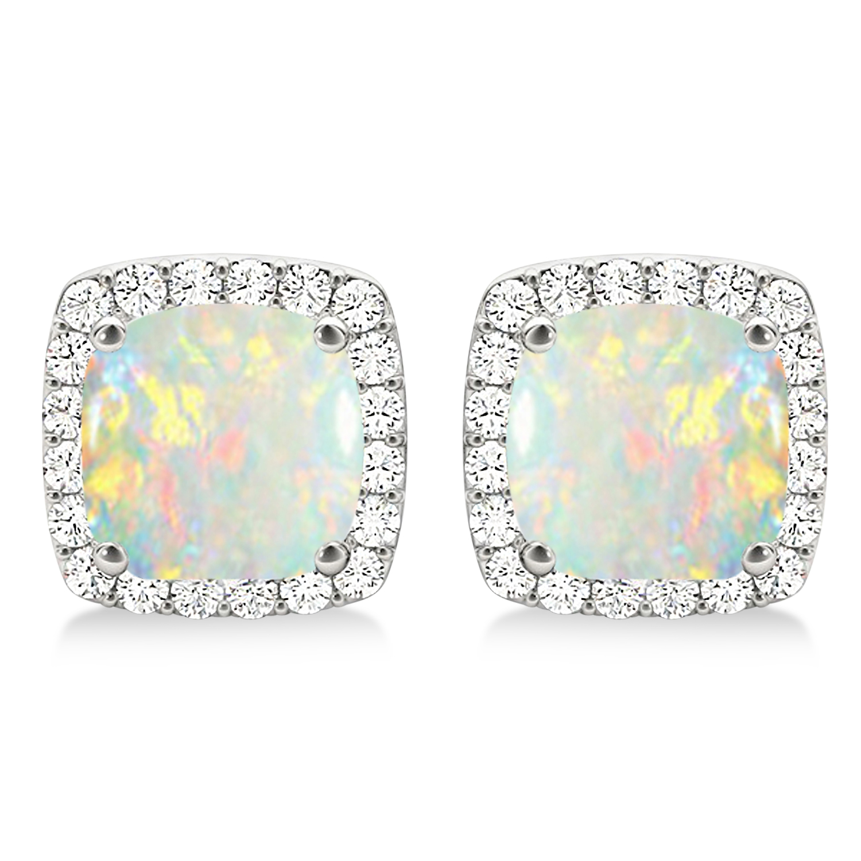 Cushion Cut Opal & Diamond Halo Earrings 14k White Gold (1.30ct)