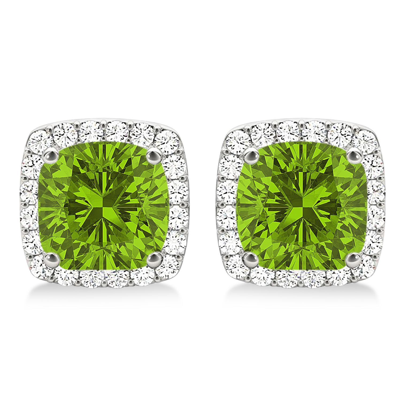 Cushion Cut Peridot & Diamond Halo Earrings 14k White Gold (1.50ct)