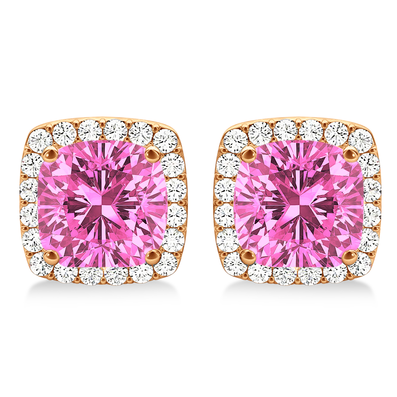 Cushion Cut Pink Sapphire & Diamond Halo Earrings 14k Rose Gold (1.50ct)
