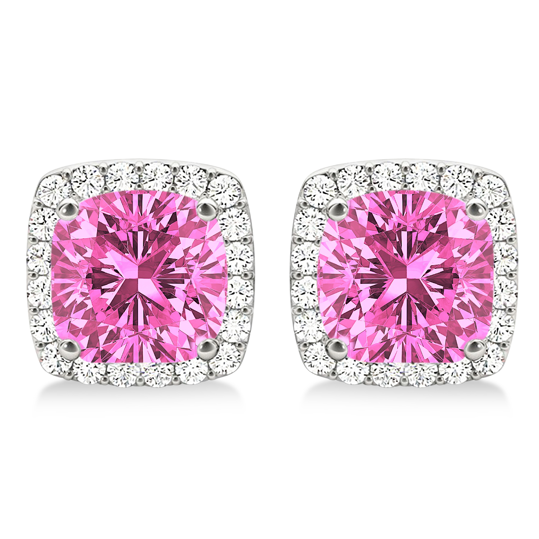 Cushion Cut Pink Sapphire & Diamond Halo Earrings 14k White Gold (1.50ct)