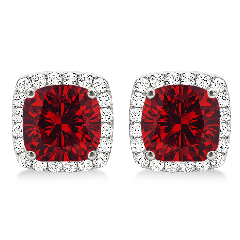 Cushion Cut Ruby & Diamond Halo Earrings 14k White Gold (1.50ct)