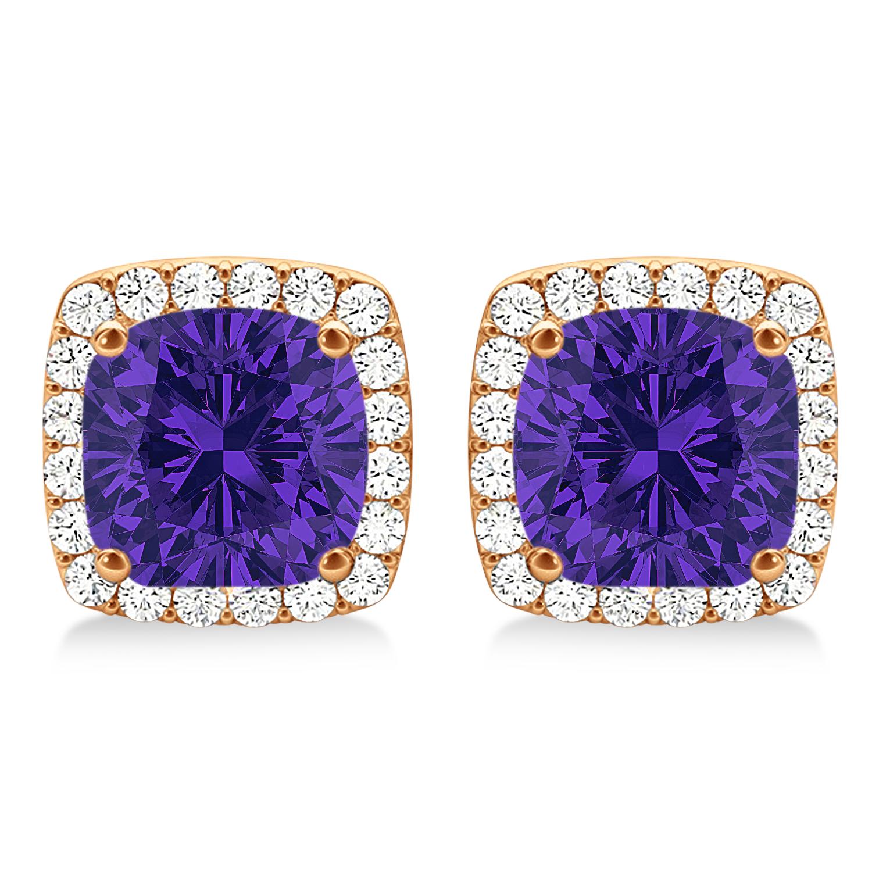 Cushion Cut Tanzanite & Diamond Halo Earrings 14k Rose Gold (1.50ct)