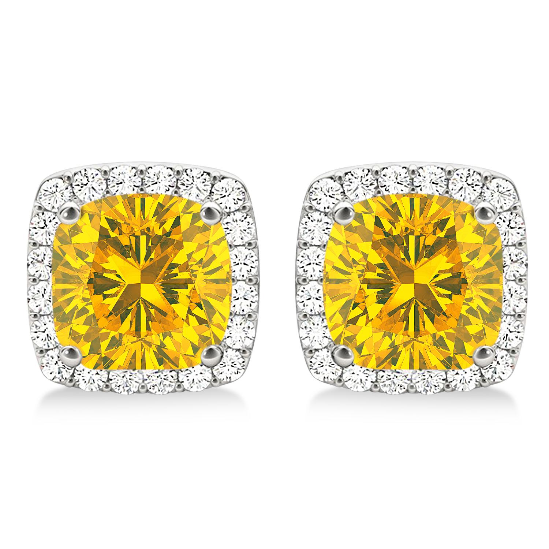 Cushion Cut Yellow Sapphire & Diamond Halo Earrings 14k White Gold (1.50ct)