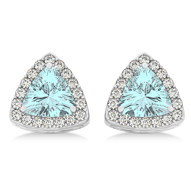 0.93 Ct Oval Sky Blue Aquamarine White Diamond 14K Yellow Gold Earrings