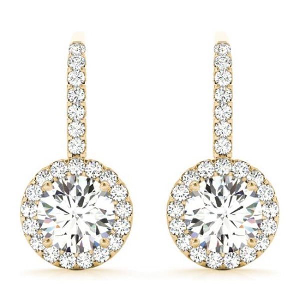 yellow diamond halo earrings - photo #31