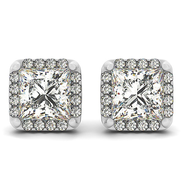 Diamond Princess-cut Square Halo Stud Earrings 14k White Gold (0.70ct)