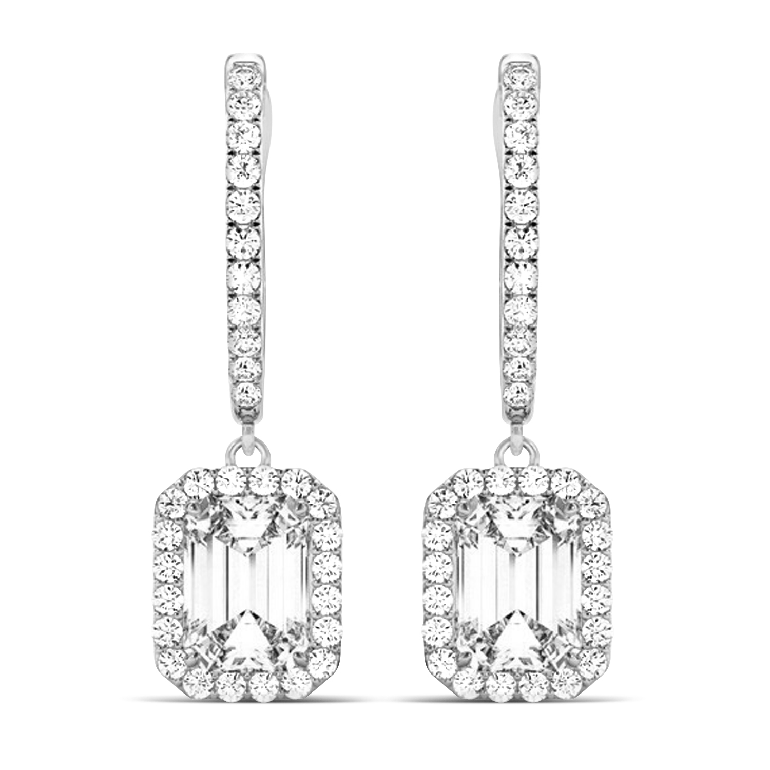 Emerald Cut Halo Diamond Drop Earrings in 14k White Gold (2.60ct)