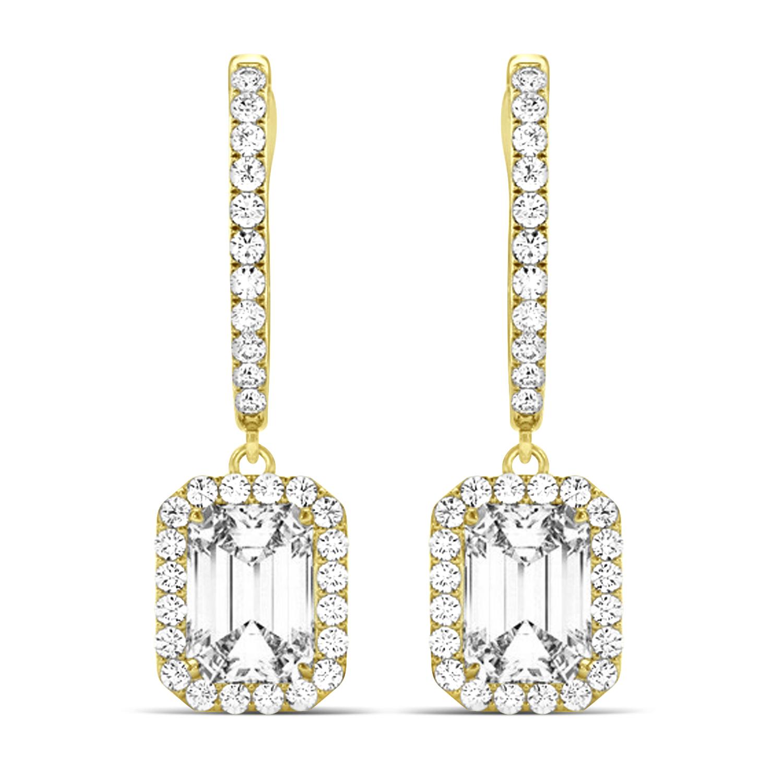 Emerald Shape Diamond Halo Dangling Earrings 14k Yellow Gold (1.50ct)