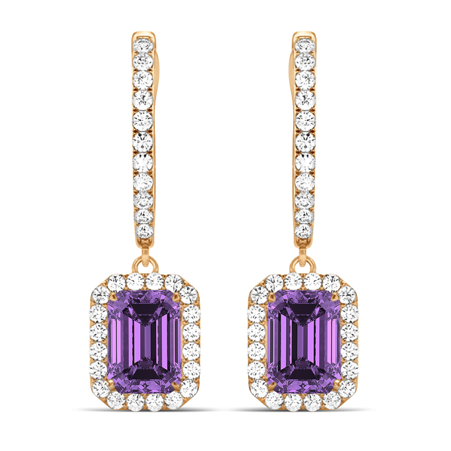Emerald Shape Amethyst & Diamond Halo Dangling Earrings 14k Rose Gold (1.60ct)