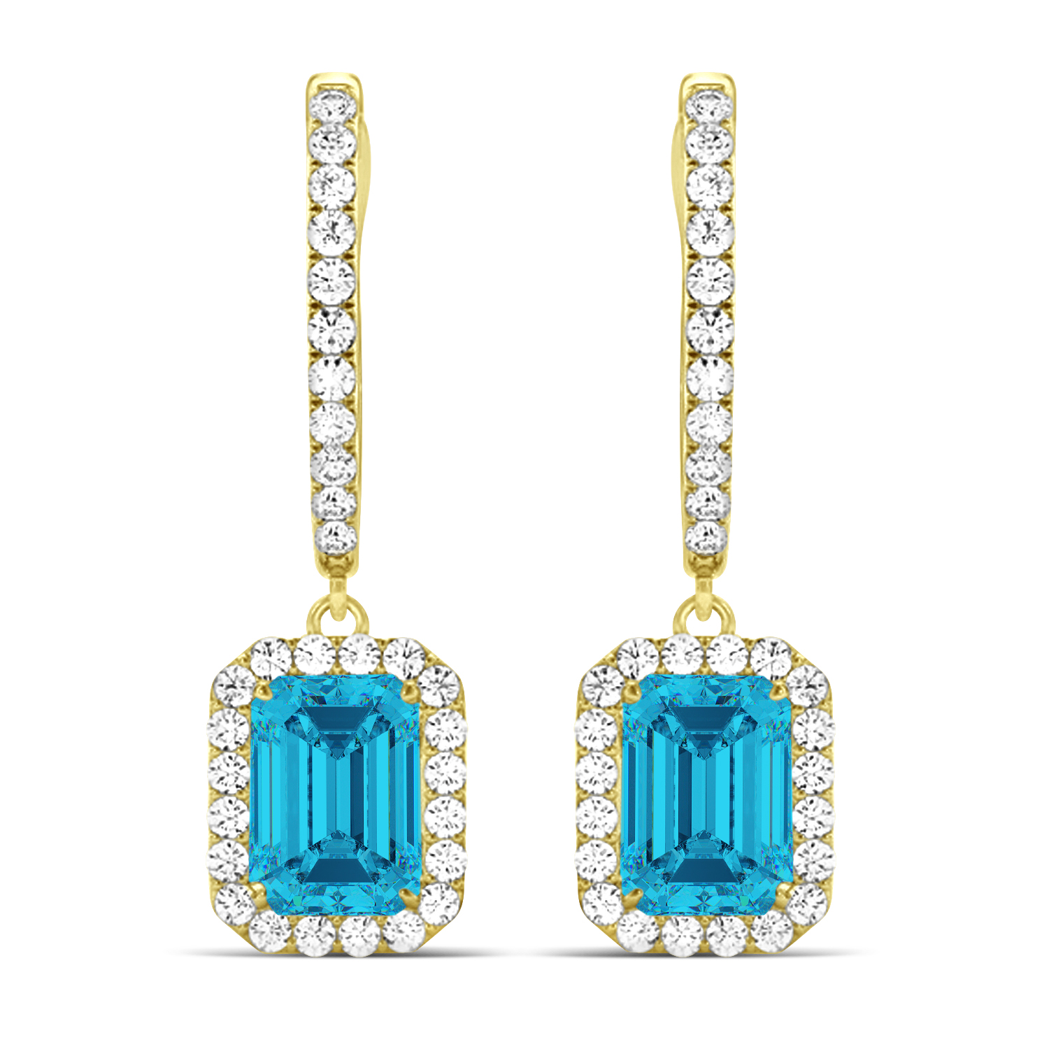 Emerald Shape Blue Diamond & Diamond Halo Dangling Earrings 14k Yellow Gold (1.50ct)