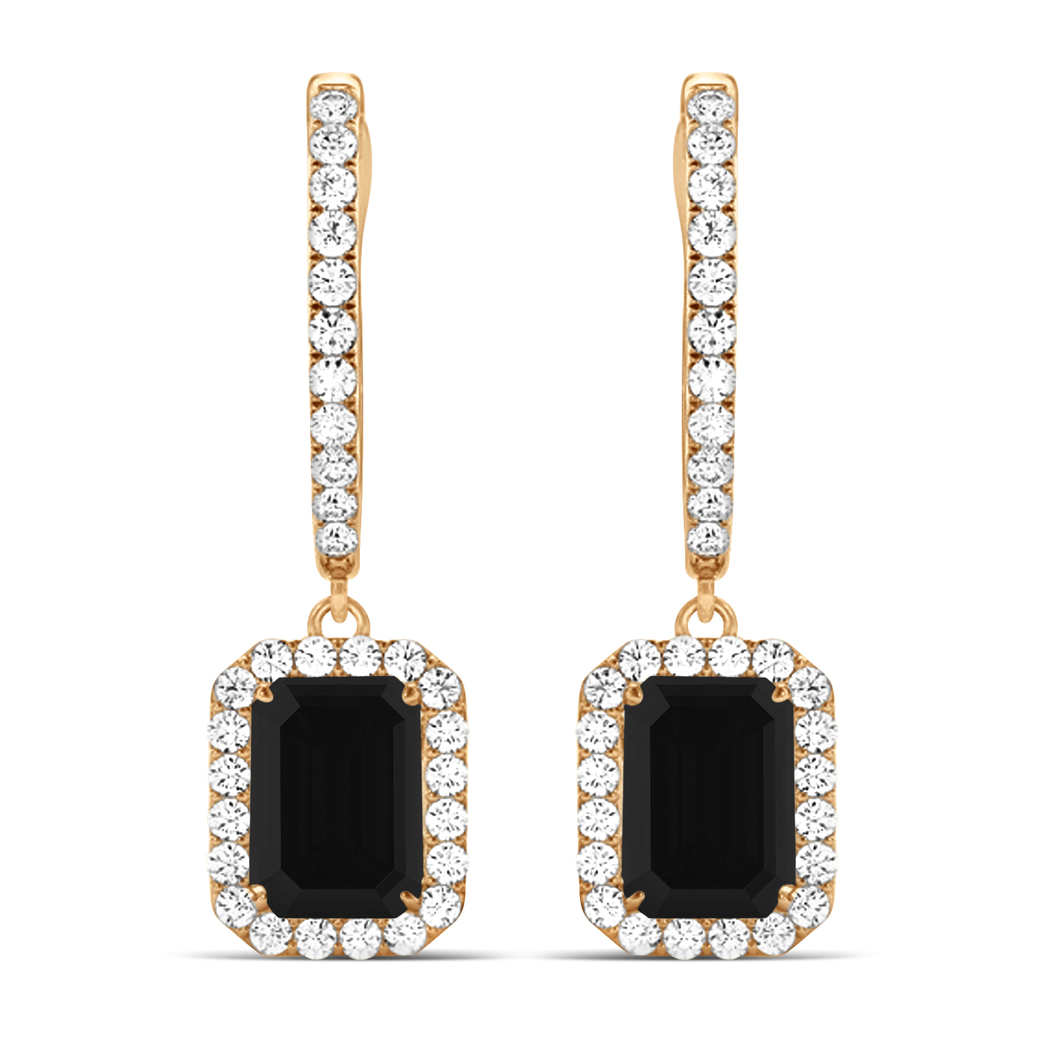 Emerald Shape Black Diamond & Diamond Halo Dangling Earrings 14k Rose Gold (1.50ct)