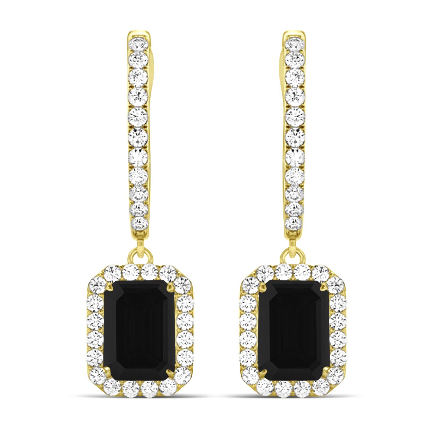 Emerald Shape Black Diamond & Diamond Halo Dangling Earrings 14k Yellow Gold (1.50ct)