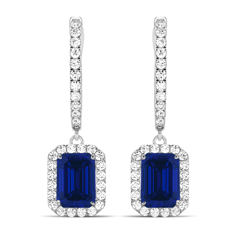 Emerald Shape Blue Sapphire & Diamond Halo Dangling Earrings 14k White Gold (1.90ct)