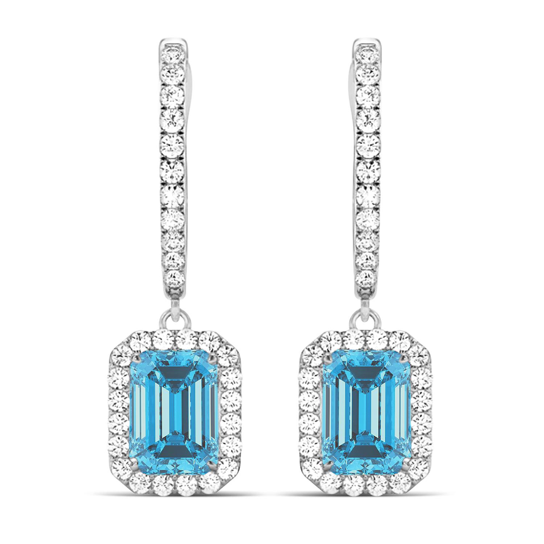 Emerald Shape Blue Topaz & Diamond Halo Dangling Earrings 14k White Gold (1.80ct)