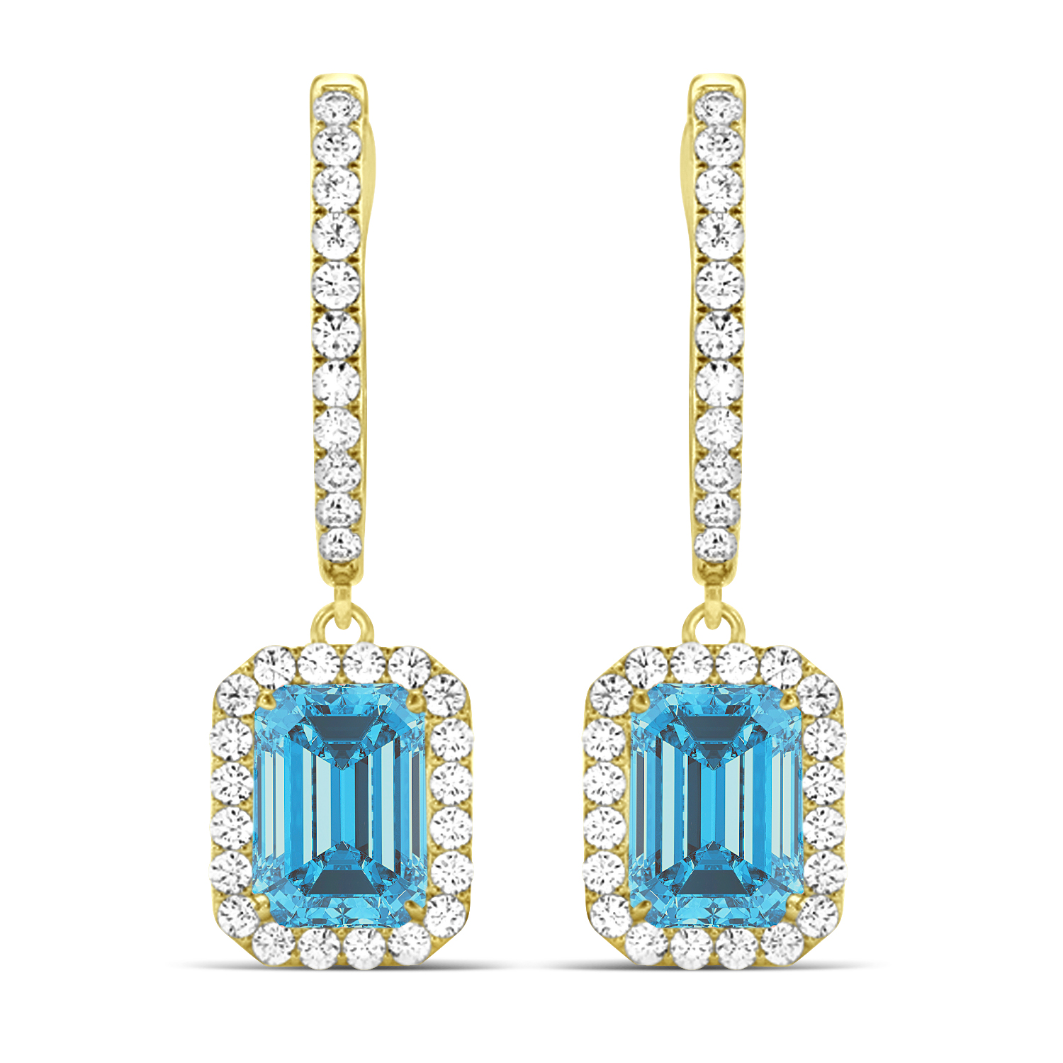 Emerald Shape Blue Topaz & Diamond Halo Dangling Earrings 14k Yellow Gold (1.80ct)