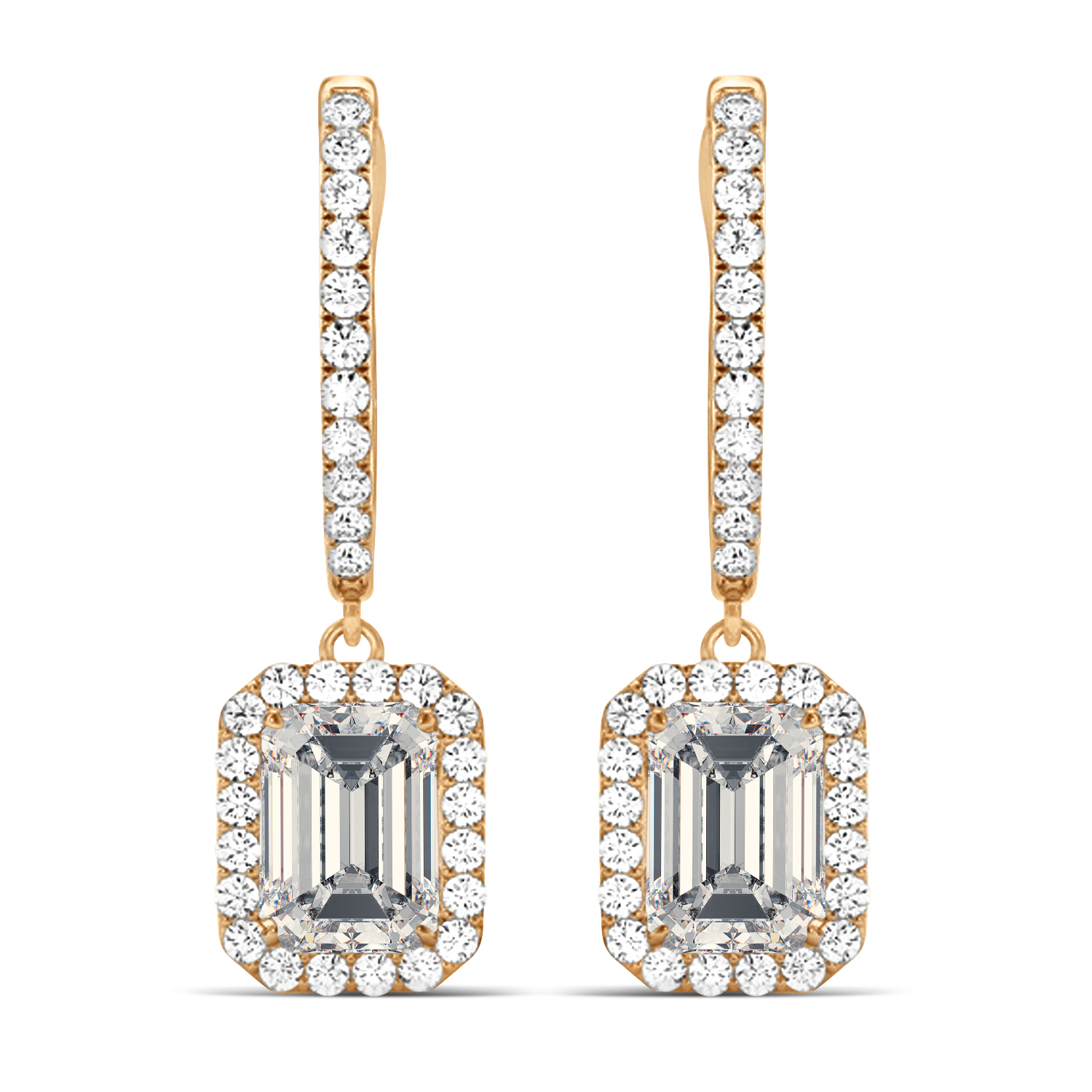 Emerald Shape Moissanite & Diamond Halo Dangling Earrings 14k Rose Gold (1.56ct)