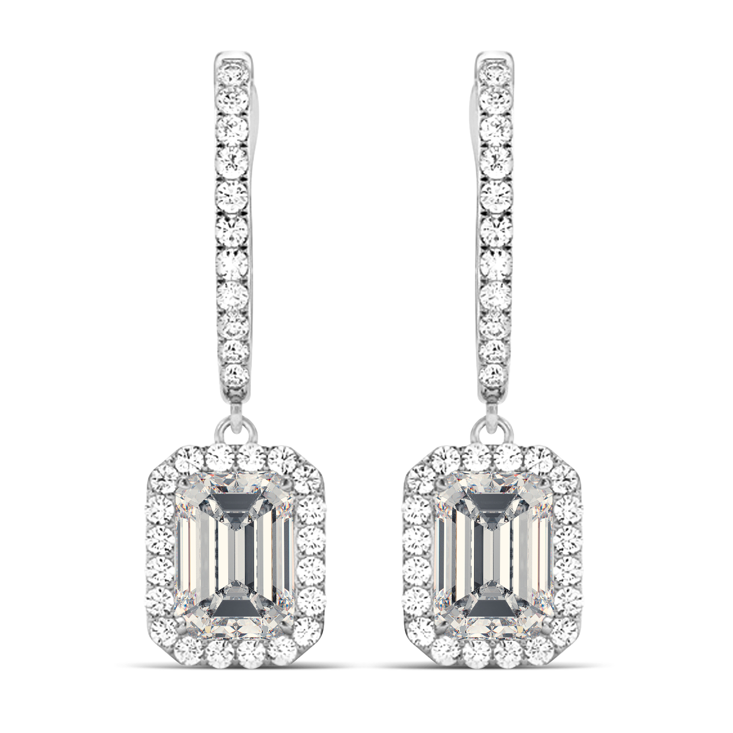Emerald Shape Moissanite & Diamond Halo Dangling Earrings 14k White Gold (1.56ct)