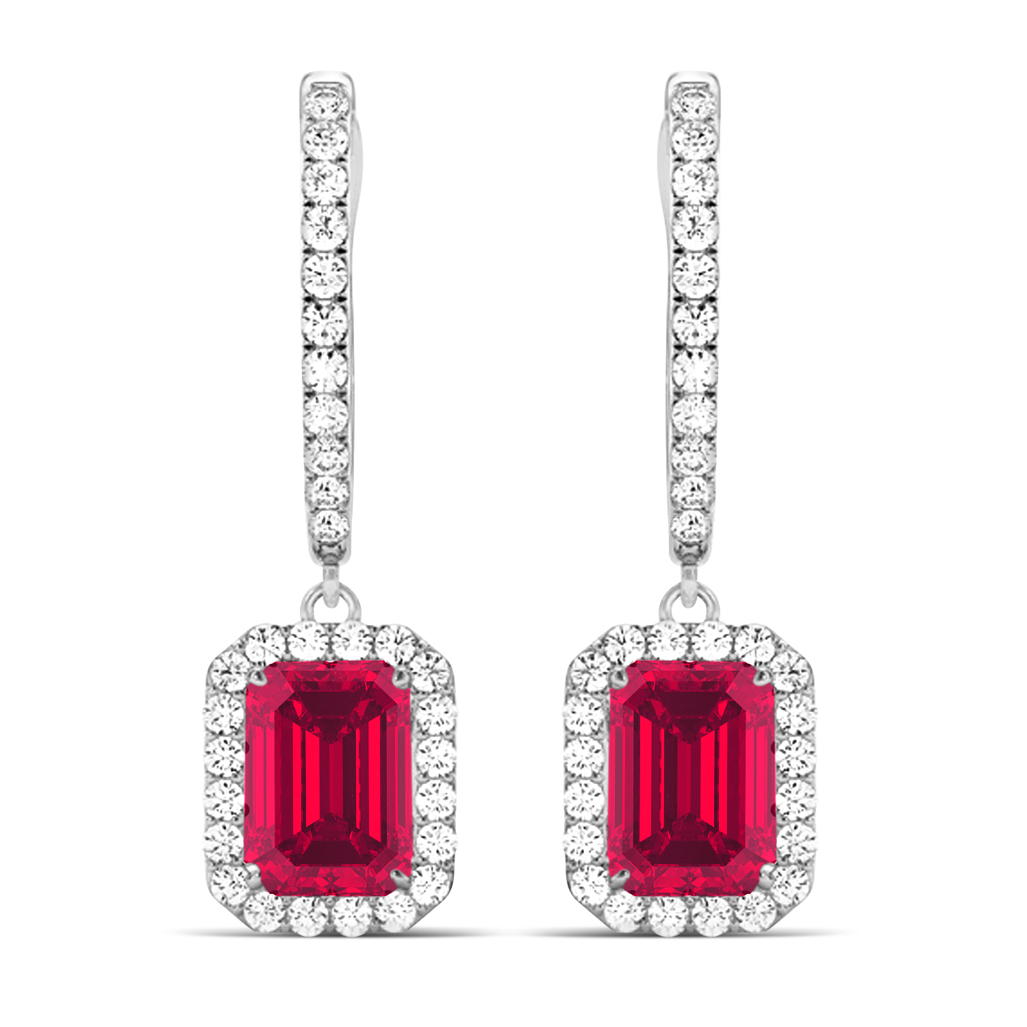 Emerald Shape Ruby & Diamond Halo Dangling Earrings 14k White Gold (1.90ct)