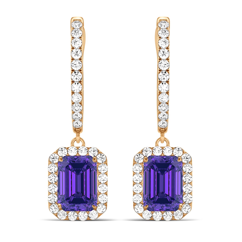 Emerald Shape Tanzanite & Diamond Halo Dangling Earrings 14k Rose Gold (1.70ct)