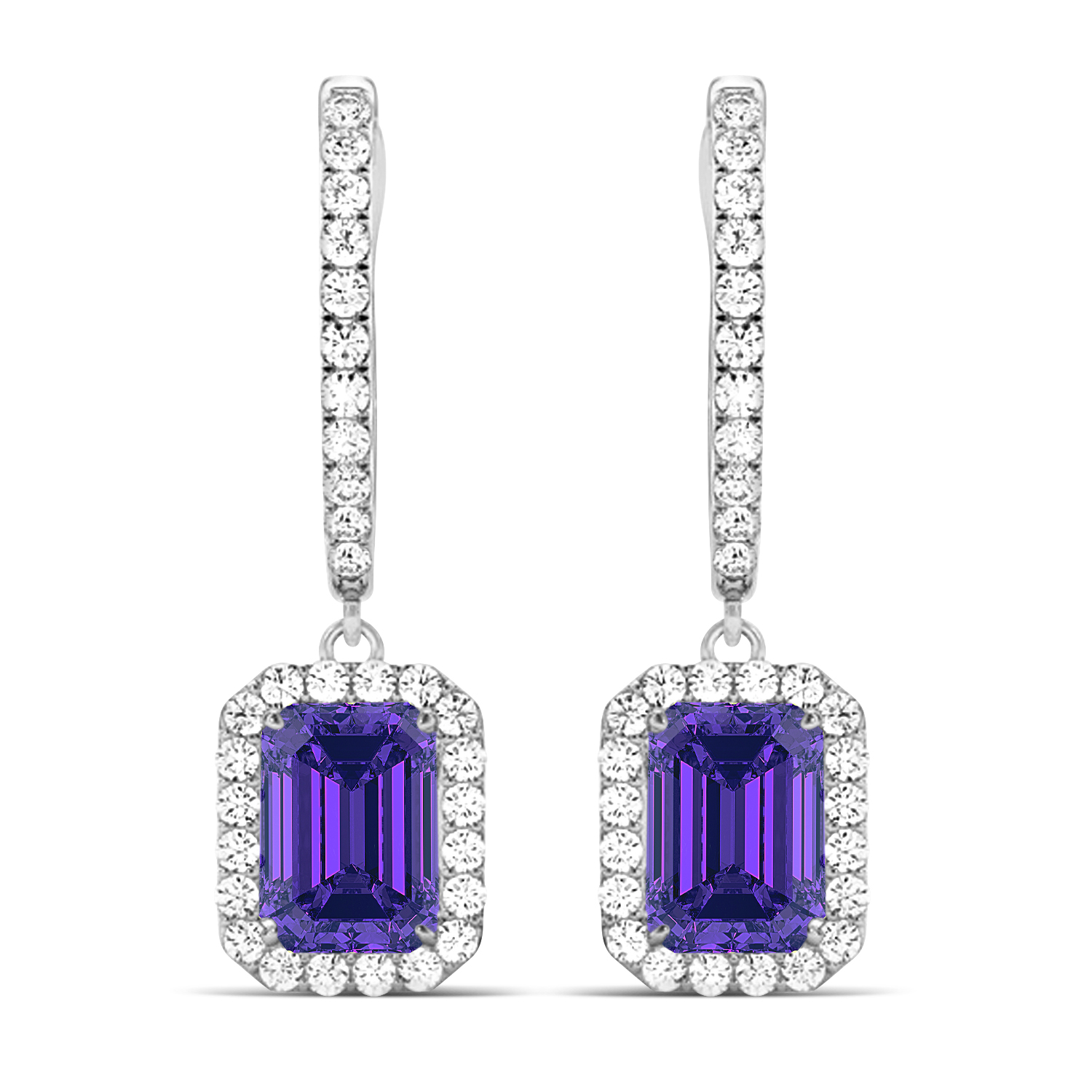 Emerald Shape Tanzanite & Diamond Halo Dangling Earrings 14k White Gold (1.70ct)