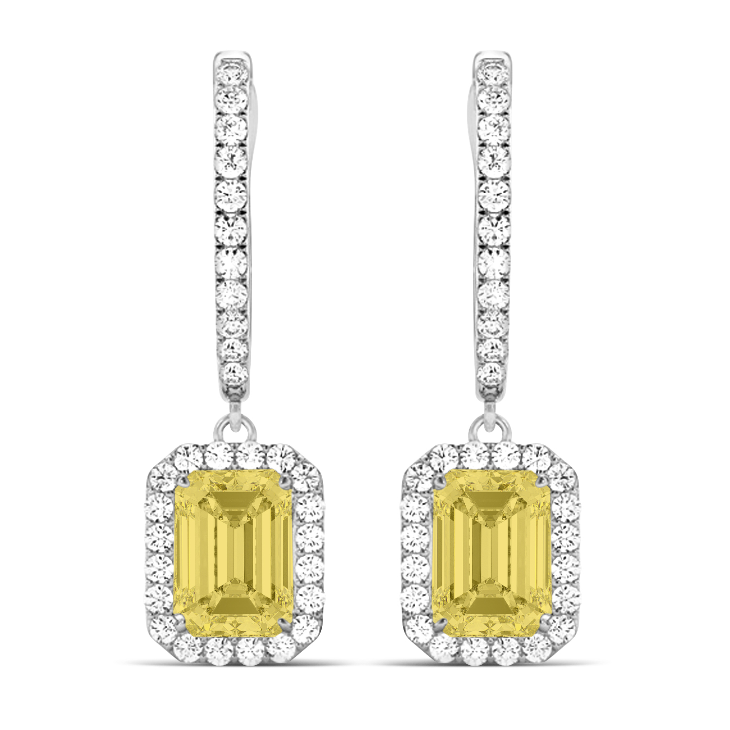 Emerald Shape Yellow Diamond & Diamond Halo Dangling Earrings 14k White Gold (1.50ct)