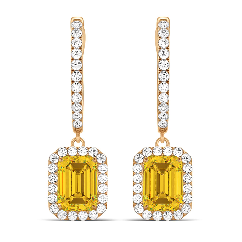 Emerald Shape Yellow Sapphire & Diamond Halo Dangling Earrings 14k Rose Gold (1.90ct)