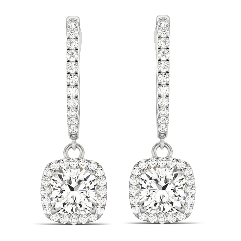 Cushion Shape Diamond Halo Dangling Earrings 14k White Gold (2.18ct)
