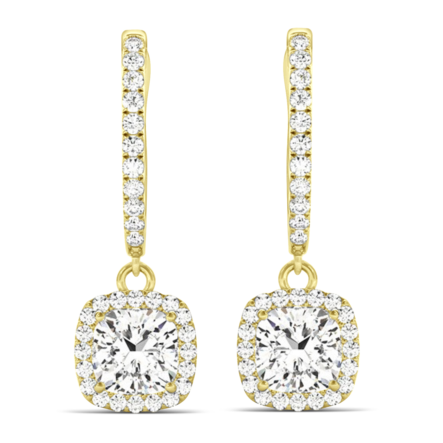 Cushion Shape Diamond Halo Dangling Earrings 14k Yellow Gold (2.18ct)
