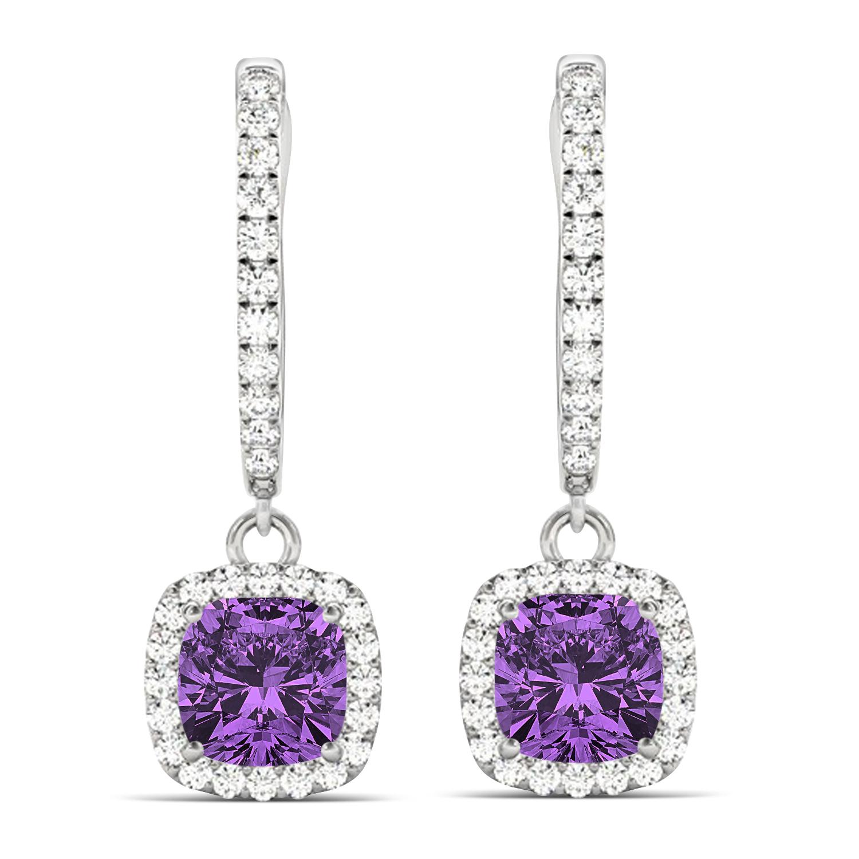 Cushion Amethyst & Diamond Halo Dangling Earrings 14k White Gold (2.20ct)