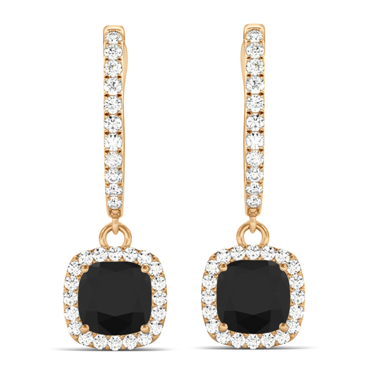 Cushion Shape Black Diamond & Diamond Halo Dangling Earrings 14k Rose Gold (2.18ct)