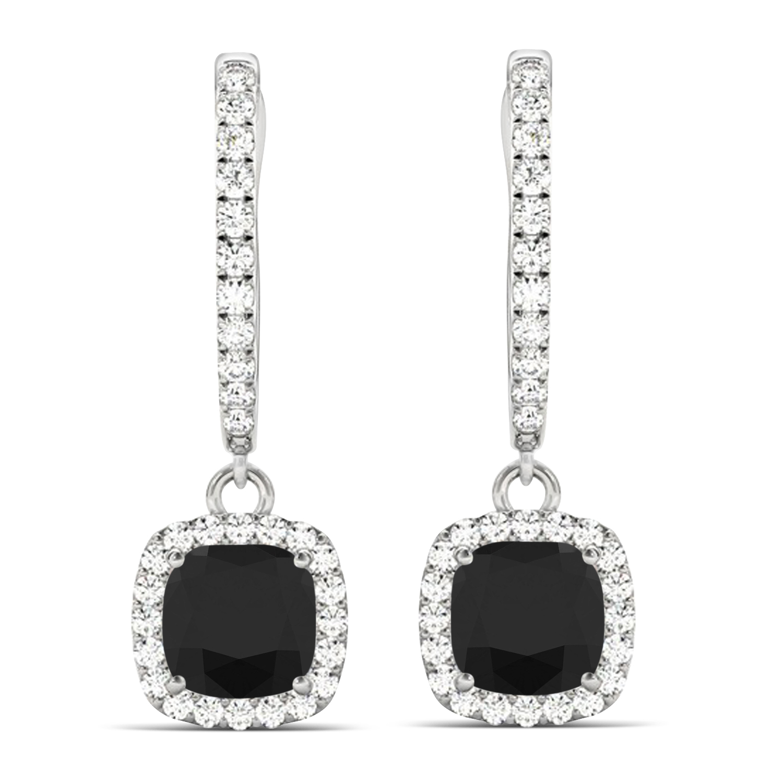 Cushion Shape Black Diamond & Diamond Halo Dangling Earrings 14k White Gold (2.18ct)