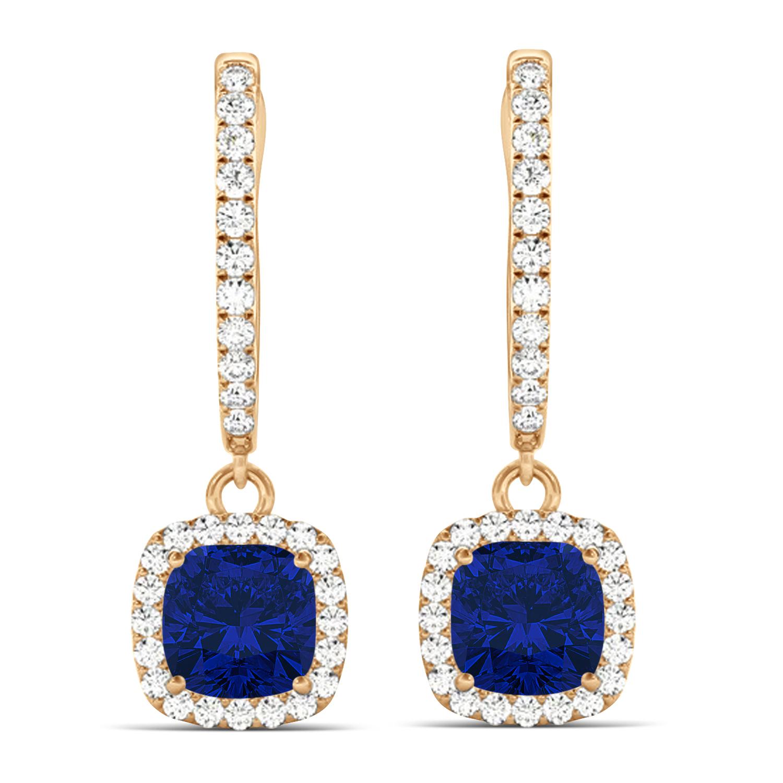 Cushion Blue Sapphire & Diamond Halo Dangling Earrings 14k Rose Gold (2.70ct)