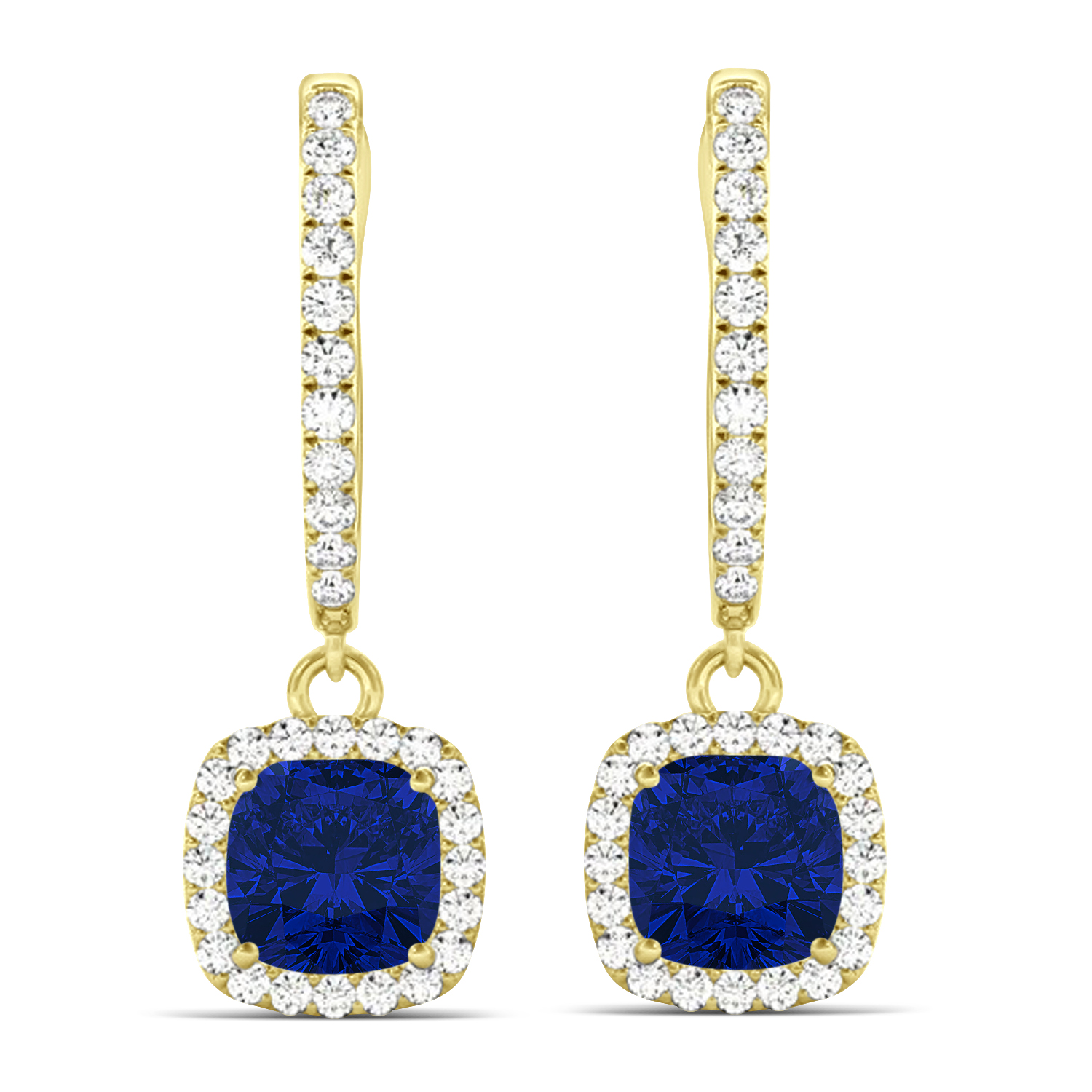 Cushion Blue Sapphire & Diamond Halo Dangling Earrings 14k Yellow Gold (2.70ct)