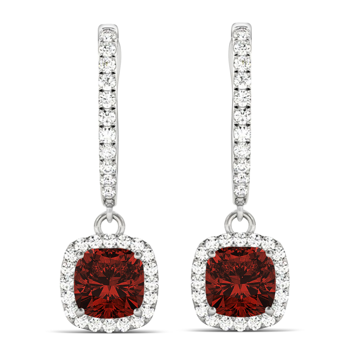 Cushion Garnet & Diamond Halo Dangling Earrings 14k White Gold (2.90ct)