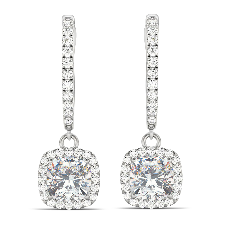 Cushion Moissanite & Diamond Halo Dangling Earrings 14k White Gold (2.70ct)