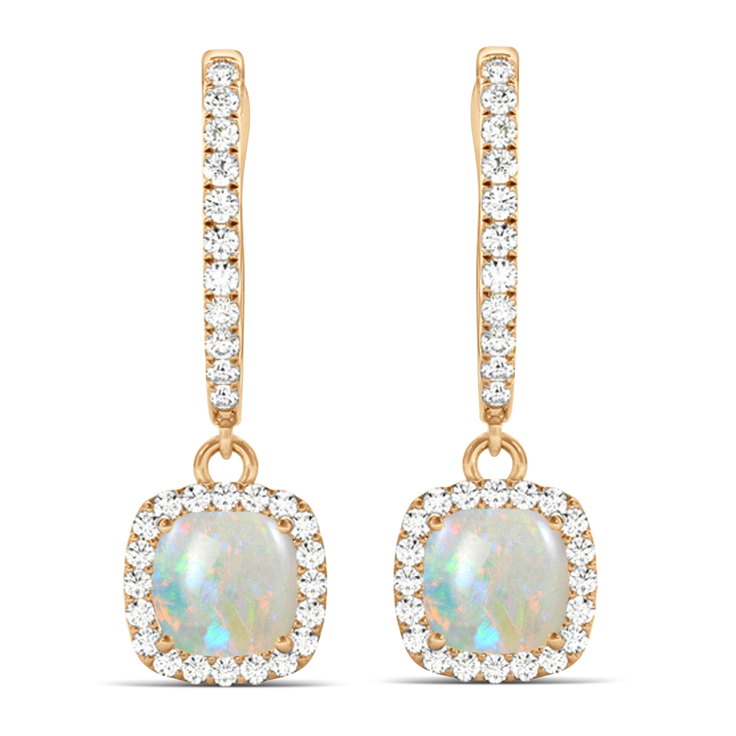 Cushion Opal & Diamond Halo Dangling Earrings 14k Rose Gold (2.90ct)