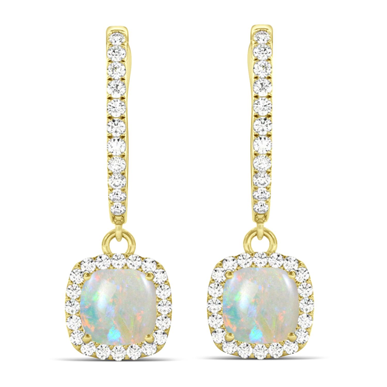 Cushion Opal & Diamond Halo Dangling Earrings 14k Yellow Gold (2.90ct)
