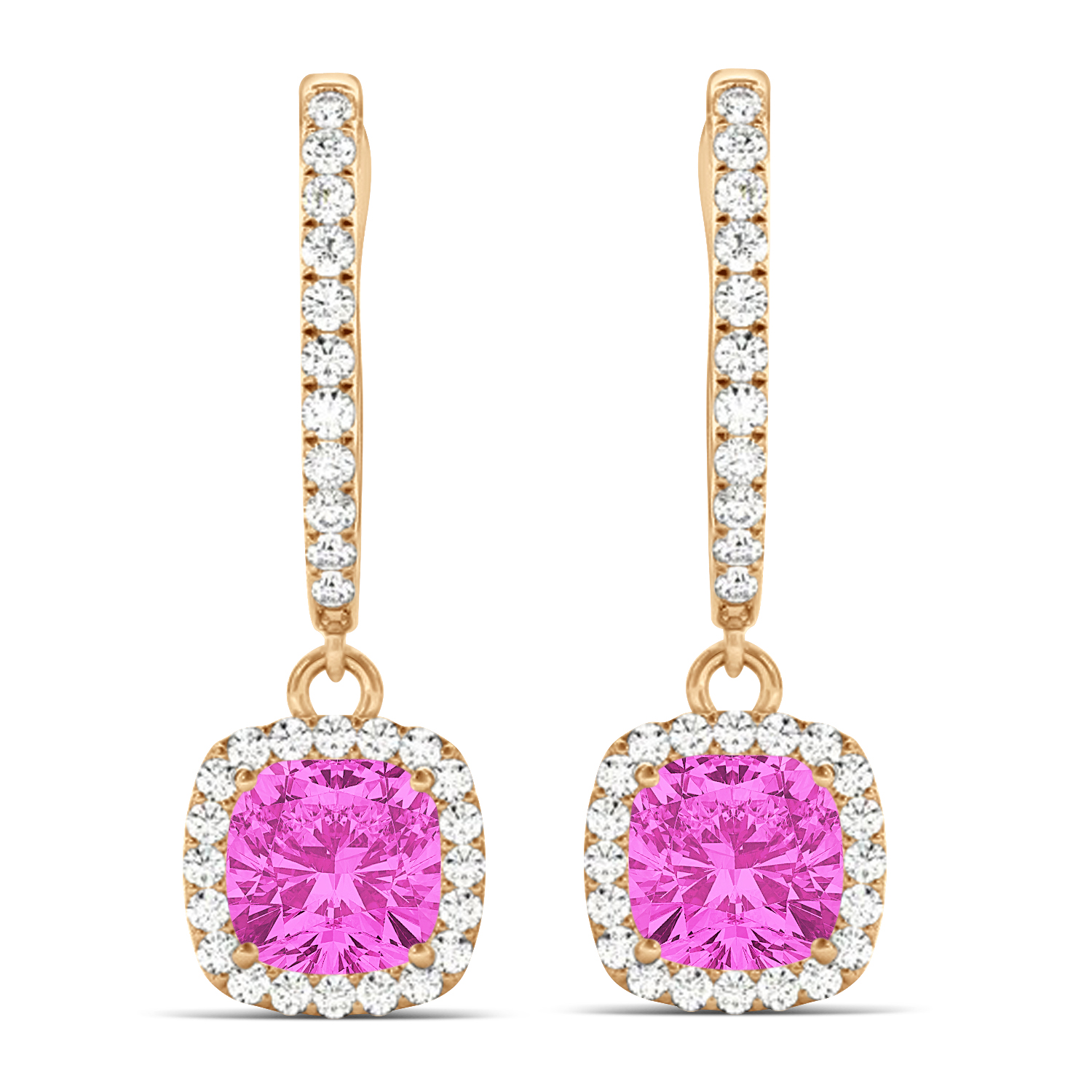 Cushion Pink Sapphire & Diamond Halo Dangling Earrings 14k Rose Gold (2.70ct)
