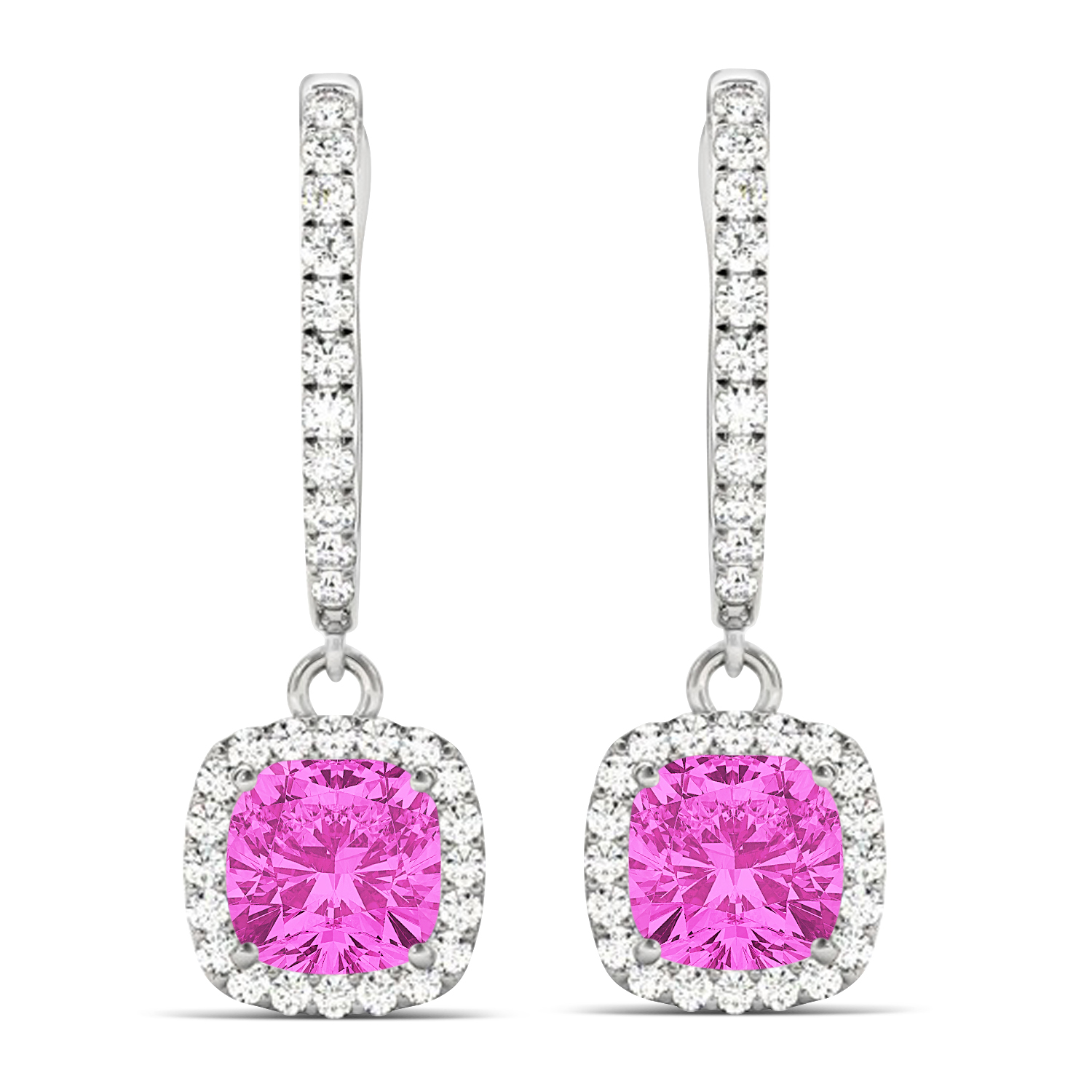 Cushion Pink Sapphire & Diamond Halo Dangling Earrings 14k White Gold (2.70ct)