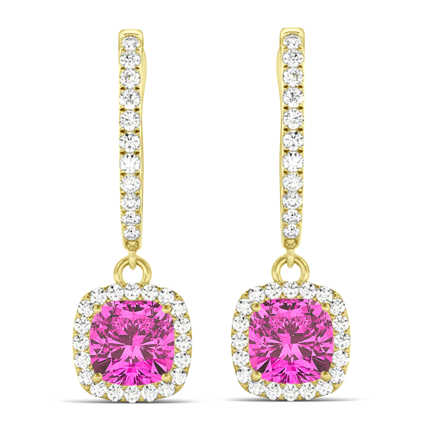 Cushion Pink Topaz & Diamond Halo Dangling Earrings 14k Yellow Gold (3.00ct)