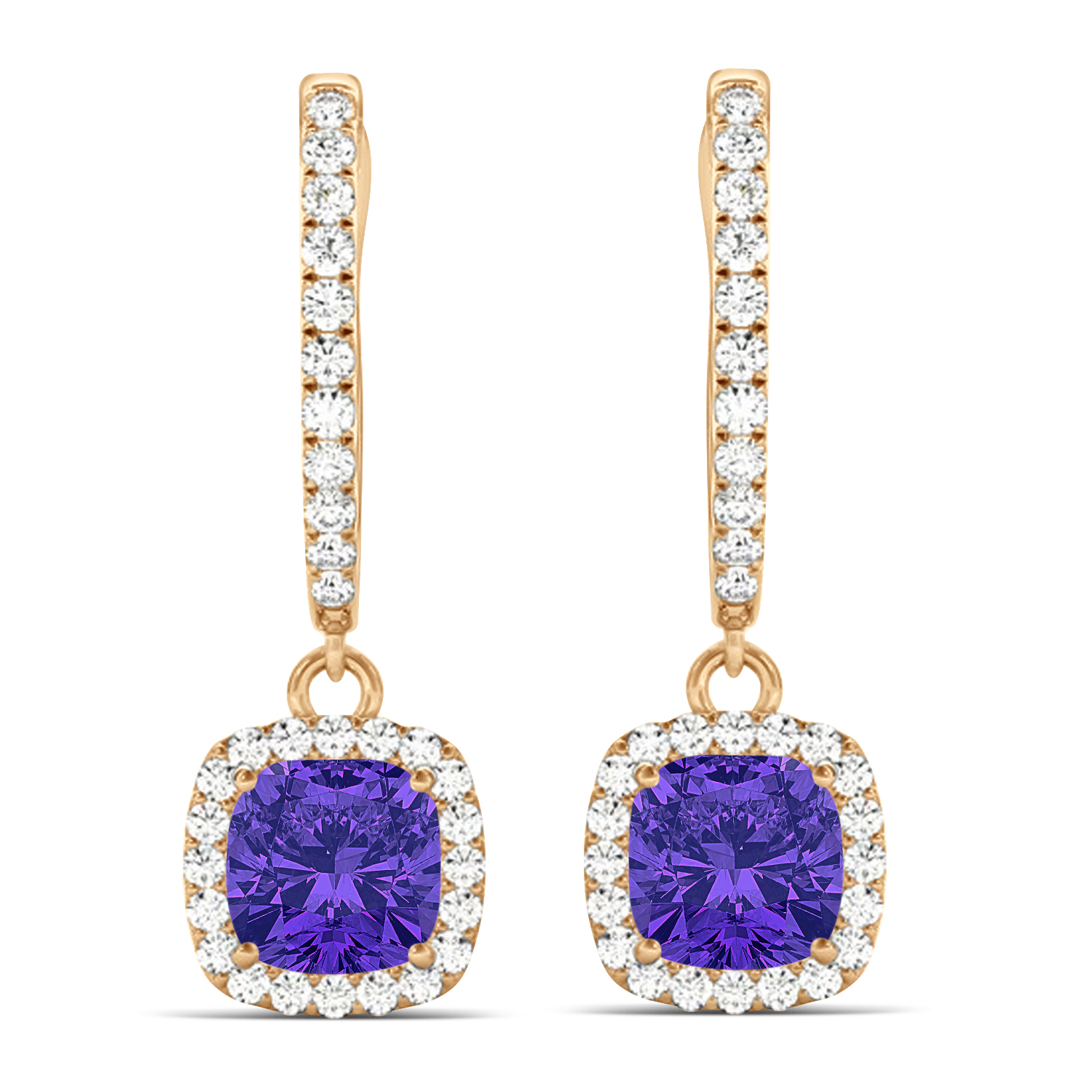 Cushion Tanzanite & Diamond Halo Dangling Earrings 14k Rose Gold (2.70ct)
