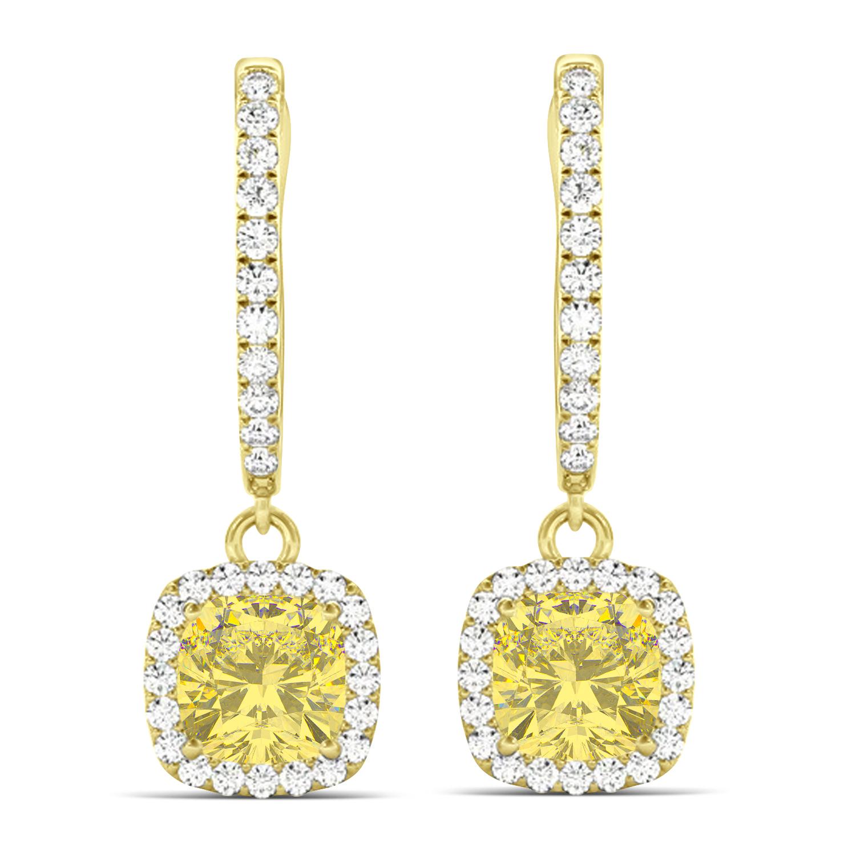 Cushion Shape Yellow Diamond & Diamond Halo Dangling Earrings 14k Yellow Gold (2.18ct)