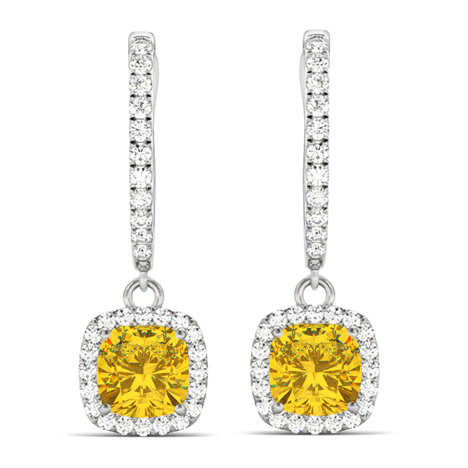 Cushion Yellow Sapphire & Diamond Halo Dangling Earrings 14k White Gold (2.70ct)