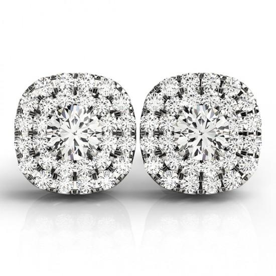 Round Cut Double Halo Diamond Stud Earrings 14k White Gold (1.00ct)